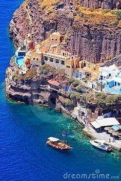 View of the old port of Fira Santorini island | Greece