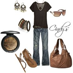 """""""Brown and Jeans"""" by cindycook10 on Polyvore"""