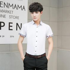2f9b15a5294 New Arrival Men s Summer Business Shirt short Sleeves Men Shirts business  metro sexual smart casual Printing Cuff