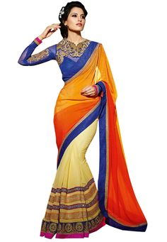 #Red And #Orange And #Cream #Georgette #Saree With #Blouse  #Red And #Orange And #Cream #Georgette #Saree #designed with #Heavy #Zari,Resham #Embroidery With #Stone #Work And #Lace Border.  INR: 4,664.00  With Exclusive Discounts   Grab: http://tinyurl.com/jux773b