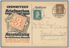 Germany, German Empire, Deutsches Reich 1927, 3 Pfg.-GA-Privatpostkarte, von der Chemnitzer Briefmarken-Ausstellung, mit So.-Stpl., Beifrankatur, gelaufen (Mi.-Nr.PP 97/C 1). Price Estimate (8/2016): 15 EUR. Unsold.