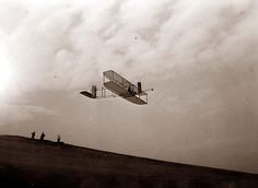 This is an extraordinary photo of Wright Brothers Glider in Flight. It was made in 1911.