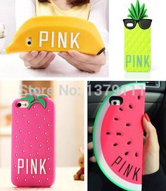 Newest Victoria's Secret PINK Luxe Glasses pineapple Strawberry Banana Watermelon soft silicone case cover For iphone 4 4s/5 5s $4
