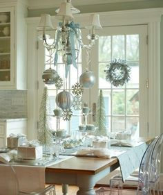 White Christmas Ornament Chandelier !