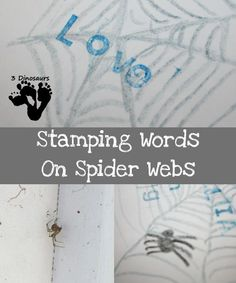 Stamping Words on Spider Webs - activity to go with Charlotte's Web- 3Dinosaurs.com