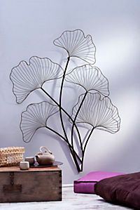 Wanddekoration im Ginkgoblatt-Design Ginkgo, Golden Tree, Steel Magnolias, Leaf Art, Wire Art, Drawing Room, Handmade Home Decor, Hobbies And Crafts, Tapestry