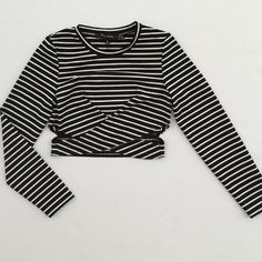 The Fifth Label Long sleeve Stripe shirt Long sleeve black & white stripe shirt with cut out. Urban Outfitters Tops Crop Tops