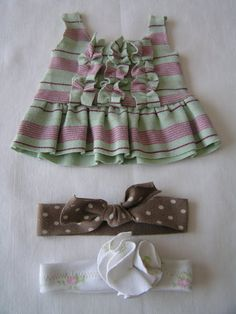 Tea Rose Home: Clothes - Memory Blanket - and Mini Clothes Baby doll tunic and head band, no tutorial, just pic. Baby Clothes Blanket, Bitty Baby, Time Quotes, Waldorf Dolls, Tea Roses, Having A Baby, Summer Time, American Girl, Baby Dolls