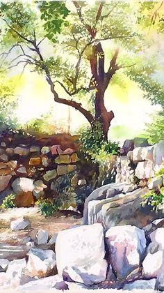 Paintings of Jerusalem by the painter, Beni Gassenbauer - Watercolors.