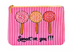 Sweet on You. Inspired by the great British seaside, this adorable embroidered lollipop purse also perfectly ticks this season's trend for candy stripe fashion. Cheap Makeup Bags, Candy Stripes, Stripes Fashion, Summer Essentials, Pouch, Valentines, Purses, Sweet, Gifts