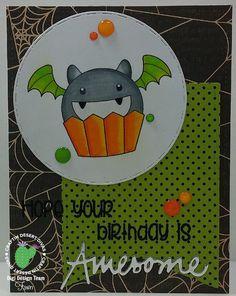 Cupcake Cutie Bat Monster Digital Stamp - Craftin Desert Divas
