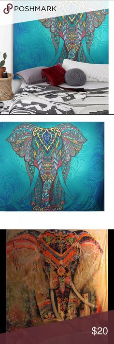 ❤️️BOHO ELEPHANT MAGIC ✨WALL HANGING NWT I LOVE THESE!! I started putting these up in all my rooms. The last pic shows my elephant I have above my queen size bed decorated with purple lights around it. These are sooo super cool!! They brighten any room and make awesome gifts and conversation. They are light-weight and measure 60' x 52'' and these are all drawings from the bohemian artist MANDALA.   All are brand NWT and in their own protective packaging. Elephants represent SO MANY GOOD…