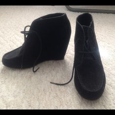 Black Tie Up Booties Worn a few times, but perfect condition. Material is Suede. Lace up Booties. Really comfortable to walk in Mossimo Supply Co Shoes Ankle Boots & Booties