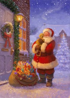 Beautiful Christmas Scenes, Christmas Scenery, Old Fashioned Christmas, Merry Christmas And Happy New Year, Father Christmas, Santa Christmas, Christmas Pictures, Vintage Christmas, Christmas Time