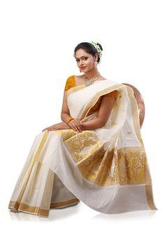 kerala wedding saree Kerala Wedding Saree, Kerala Saree, Saree Wedding, Indian Sarees, Indian Hairstyles For Saree, Christian Wedding Sarees, Kasavu Saree, Cotton Saree Designs, Costumes Couture