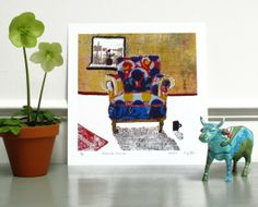 Patterned Armchair 10 x 10 Print on paper by KSGtextileart on Etsy, $29.00