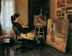 Warren Chang (American, born 1957) 'Artist in her Studio'