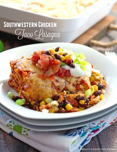 "This Southwestern Chicken Taco Lasagna is an absolute family favorite!  Tostadas form the ""lasagna"" noodles and the gooey layers are filled with everything we love about Southwestern cooking.  Rotisserie chicken, taco sauce, a dreamy cream cheese layer. black beans, corn and of course, lots of gooey cheese. This Southwestern chicken taco lasagna is guaranteed to...Read More »"