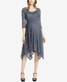 Jessica Simpson Maternity Lace Handkerchief-Hem Dress - Periscope S