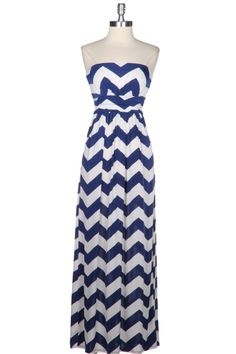 Gorgeous Blue & White Zig Zag Chevron print Maxi dress. Go casual or dress it up. Wear with or without a cardigan.  $45