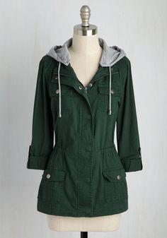 Summit Lovin' Jacket - Green, Solid, Casual, Safari, 90s, Summer, Mid-length, Cotton, Woven, 2, Pockets