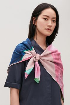 This screen-printed scarf is made from a lightweight blend of cotton and silk with a semi-sheer quality, a statement print and contrast stitching along the edges. x Dry clean We cannot ship to freight forwarding addresses. Small Wardrobe, Cotton Scarf, Vintage Textiles, Mulberry Silk, Vintage Design, Drawing, Pink Blue, Blue Green, New Product