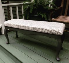 Thrifted bench makeover with new fabric and paint - Thrift Diving