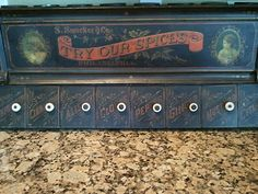Antique Country Store Spice Tin Cabinet s Smuckers Co Philadelphia | eBay