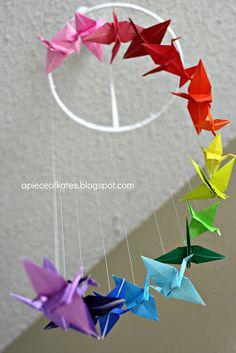 Rainbow paper crane mobile