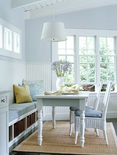 Love the paint color with beadboard.  Add Function to an Awkward Space   Give an awkward area a purpose and appeal. Transform a basic bay or boxy window into a reading nook. Or furnish an empty corner of the living room with a game table and storage cabinet