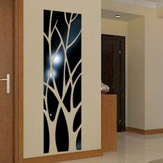 Hágalo usted mismo extraíble de espejo de plumas moderna Calcomanía Mural de Arte Decoración Habitación Pared Adhesivo Home