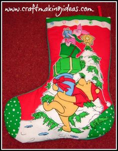 Jumbo Winne The Pooh Themed Quilted Christmas Stocking high) Quilted Christmas Stockings, Winne The Pooh, Green Fabric, White Fabrics, Knitting, Sewing, Holiday Decor, Crochet, Paint