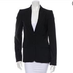 "Gucci Wool Blend Black Blazer 2 38 Gorgeous and freshly dry cleaned black Gucci blazer with botched collar, three front pockets, back hem vent and front button closure. 34"" bust 30"" waist 15"" shoulder 26.5"" length. Great condition! Gucci Jackets & Coats Blazers"