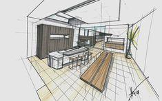 Haus Fu   Mayr & Glatzl Innenarchitektur GmbH #skizze #innenarchitektur #küche #design #details Floor Plans, Design, Interior Design Kitchen, Detached House, Floor Layout, Sketches, Design Comics, House Floor Plans