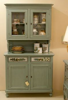 Hand Painted Furniture, Paint Furniture, Upcycled Furniture, Furniture Makeover, Kitchen Dresser, Kitchen Decor, Painted China Cabinets, Sewing Room Decor, Vintage Kitchen