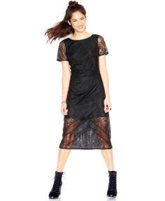 MADE Fashion Week for Impulse Short-Sleeve Lace-Overlay Midi Dress | macys.com