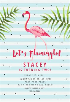 Let's Flamingle! printable invitation template. Customize, add text and photos. Print, download, send online or order printed!