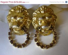 ON SALE Vintage Kenneth Lane Topaz Lion Head by Sisters2Vintage, $63.75