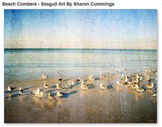 Beach Art Print from Painting Colorful Ocean Sea Seascape Landscape Seagulls gulls  CANVAS Ready To Hang Large Artwork Beach House Birds Art...