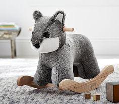 Pottery Barn: Wolf Fur Plush Rocker  Woodland Creatures themed nursery.