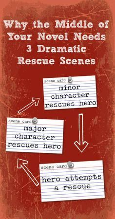 All of these rescues mean that there are at least three life-and-death situations in the middle of the novel, even before the climax! (The final scene at the end of the novel is its own kind of rescue.) Besides making the reader's heart beat faster, these Writing Quotes, Fiction Writing, Writing Advice, Writing Resources, Writing Help, Writing Skills, Writing A Book, Writing Ideas, Writer Tips