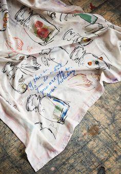 Joseph Cornell inspired Scarf by Holly Picthall via Etsy UK blog
