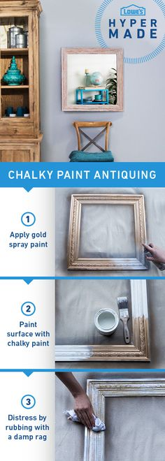 Picture this! Revamp your home décor by giving your frames an antique finish using chalky paint.  Click the image to learn how to perfect the technique. It's easier than you think!