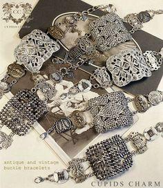 love these vintage buckle bracelets