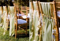 adorable chair decoration with ribbons...changing the color can change the mood.