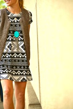 I like the tribal print, the vest and the necklace a matter of a fact I have an identical one (necklace). I love the overall look.