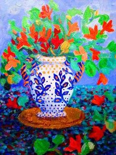 "Saatchi Art Artist Nada  Sucur Jovanovic; Painting, "",,The orange flowers ,,"" #art"