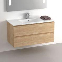 Meuble salle de bain 100 cm Chêne, 2 tiroirs, plan céramique, Cardo