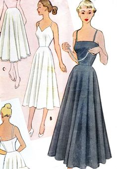 1950s McCalls 8521 Ankle Length or Midi Length Full by paneenjerez, $18.00