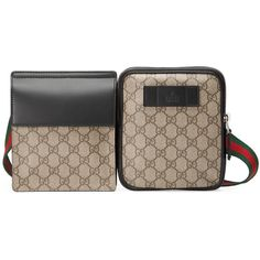 Gucci Gg Supreme Belt Bag ($620) ❤ liked on Polyvore featuring bags, handbags, beige, brown purse, fanny bag, beige handbags, canvas pouch and waist bags